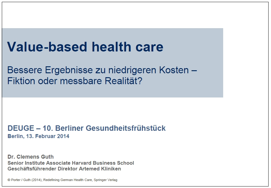 Value-based health care Titelfolie